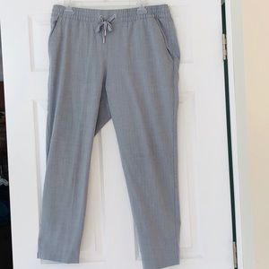 Light Gray Pinstriped Jogger Style Trousers